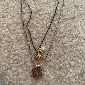 Silver peace sign Brighton necklace